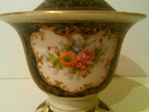 Japanese Hand Painted Fine Bone China, Ginger Jar, Sugar Bowl, Candy Dish - Made in Japan