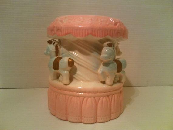 Musical Horse Carousel Music Box Planter - Reubens - Made in Japan 596