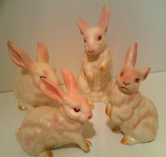 The Bunny Family - Fine Porcelain Japan Rabbit Figurines - Vintage