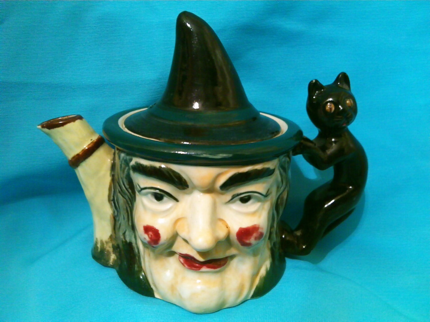 Witch And Black Cat Teapot 1960s Collectible Halloween