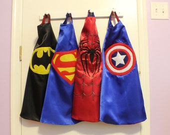 Reversible Superhero Cape for Boys and Girls Spiderman Superman Batman
