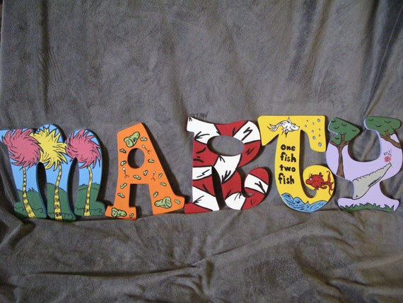 Dr. Seuss Inspired Hand Painted Letters  ***MESSAGE BEFORE ORDERING***