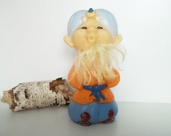 Adorable SULTAN VINTAGE rubber toy, his name is Aslan. Use him for assemblage, mixed media or to keep company.
