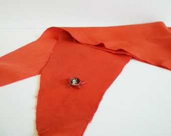 VINTAGE pioneer SCARF with pin, use it for fashion creations, home decor, wear it...