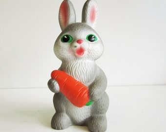 RABBIT, cute vintage rubber toy with carrot, his name is Ivan. Use him for mixed media art, photography projects, or company.