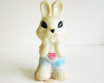 RABBIT, cute vintage rubber toy, his name is Boris. Use him for mixed media art, photography projects, or company.
