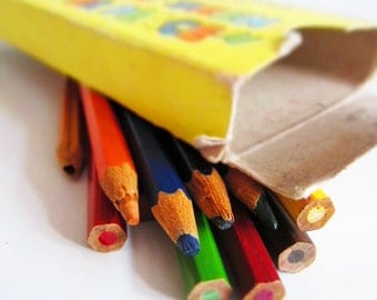 Beautiful VINTAGE  pencils in a box. Use it for home decor, shadow boxes, assemblage, display.