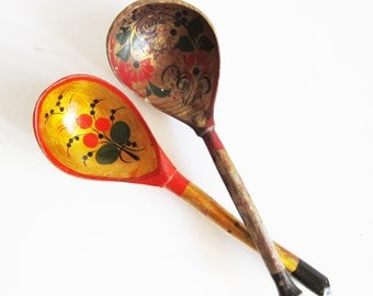 Two VINTAGE hand made and painted WOODEN SPOONS, use for assemblage, home decor, kitchenware.