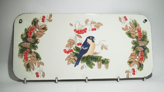 VINTAGE ENAMEL HANGER with bird and berries....for clothing, keys, home decor.