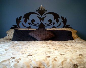 Ornate Headboard Removable Vinyl Wall Decal  FREE SHIPPING