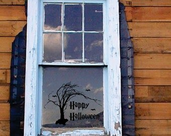 Happy Halloween Spooky Tree removable decal FREE SHIPPING