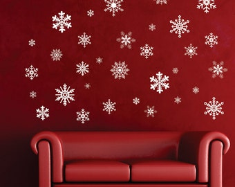 Intricate Snowflake Decorations Removable Christmas Vinyl Wall Decal Holiday Window Decor, 6 pack of 3 inch