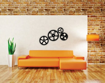 Gear Cogs Removable Vinyl Decal  FREE SHIPPING