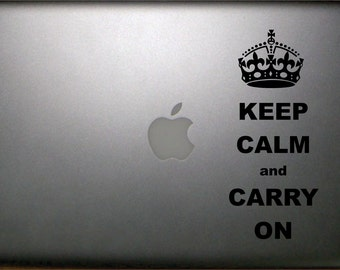 Keep Calm and Carry On Macbook Decal  FREE SHIPPING