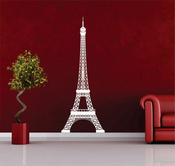 Large Eiffel Tower vinyl wall decal FREE SHIPPING