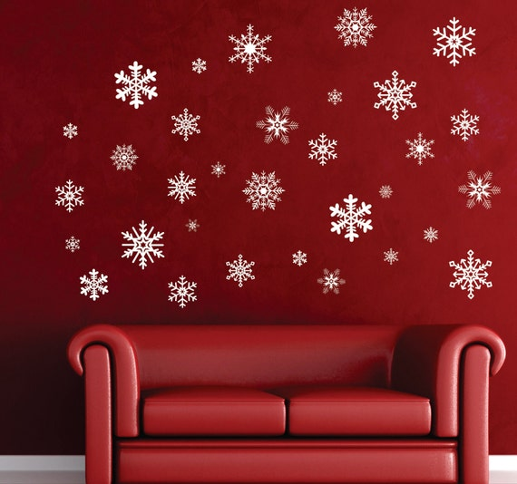 38 Intricate Snowflake Decorations Removable Christmas Vinyl Wall Decal Holiday Window Decor