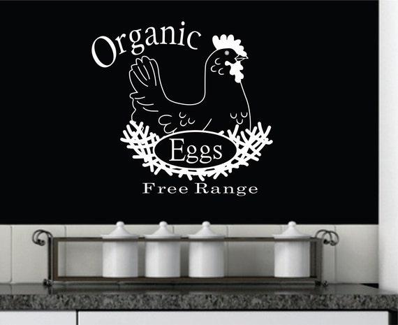 Organic Eggs w/Chicken, Kitchen Decal Vinyl FREE SHIPPING