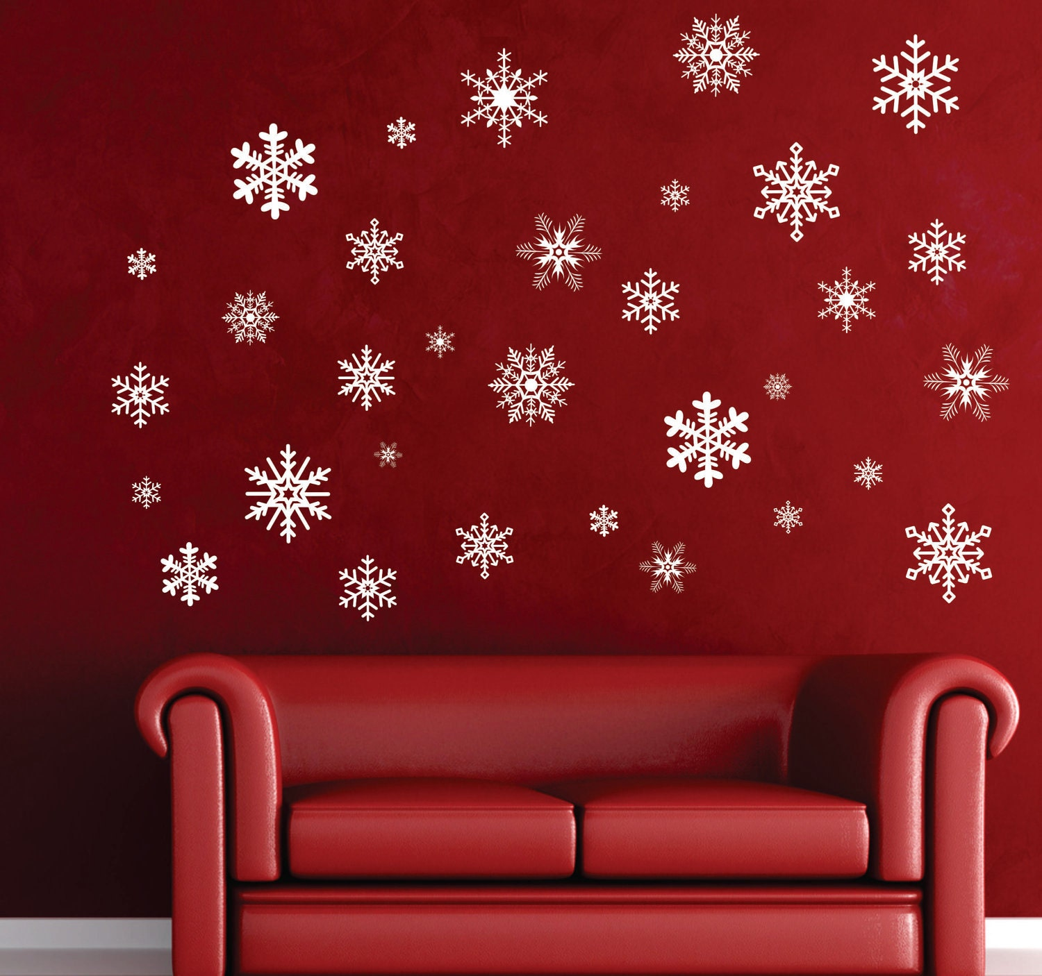 intricate snowflake decorations removable christmas vinyl wall. Black Bedroom Furniture Sets. Home Design Ideas
