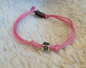 "Monogram ""B"" pink cotton cord bracelet"