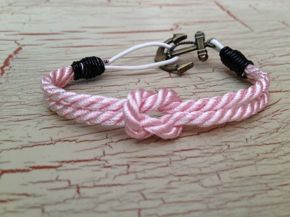 Pink Nautical bracelet--A Nautical Notion III--Knot and anchor bracelet