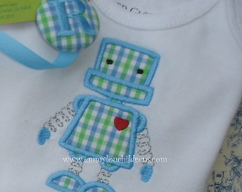 Baby Gift Set - Burp Cloth, Bib, Bodysuit, and Pacifier Clip - Robot - Personalized Baby Gift