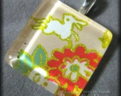 Medical Fundraiser - Moon Rabbit with Flowers Glass Tile Pendant Japanese Oragami Paper (Chiyogami)