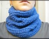 Hand Knit Blue Cowl (Neckwarmer) Soft Pretty Warm