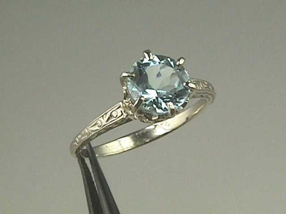 Edwardian Tiffany Style 14K White Gold Engagement Ring Antique Solitaire...6.5 mm (1.00 Carats) Setting Mounting Mount