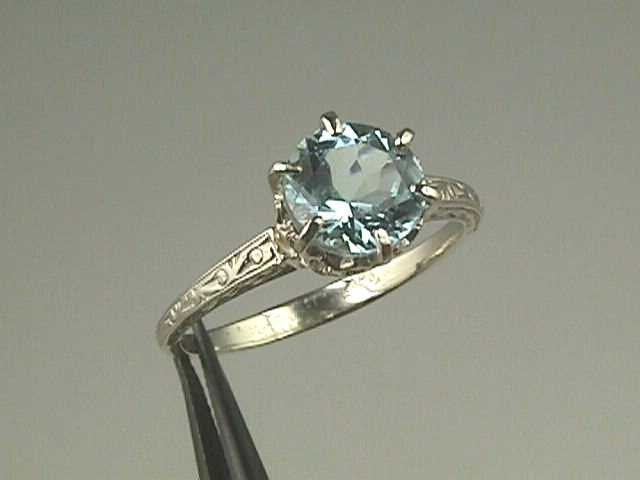 Edwardian Tiffany Style 14K White Gold Engagement Ring Antique