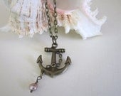 Anchor Necklace with Freshwater Pearl - Antique Brass
