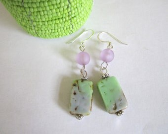 Rectangle Glass Bead Earrings (in Lime and Purple)