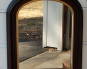 Antique Large Arched and Gilded Victorian Wall Mirror