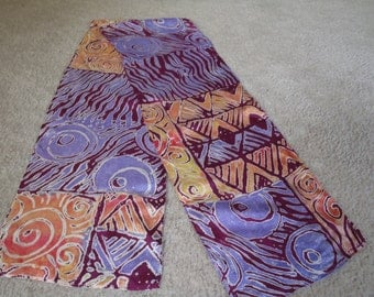 Clearance Sale on all scarves! Beautiful Habotai silk scarf, printed and discharged, original abstract design, has kind of a batik look