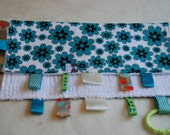 Small Chenille Ribbon Baby Blanket - Teal Floral