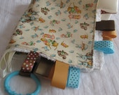 RESERVED--- Chenille Ribbon Tag Baby Blanket, Bib and Burp Cloth Set - Vintage Inspired Woodland Animals