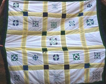 Crib / Lap machine embroidered floral design with fleece backing
