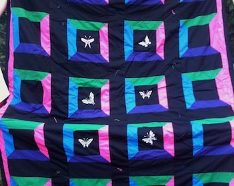 Queen machine embroidered butterfly quilt
