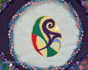 Embroidery Multi-colored Swirl Egg Album