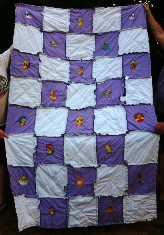Rag Quilt Patterns For Twin Bed : Twin rag quilt with machine embroidered ducks by countrygirls3