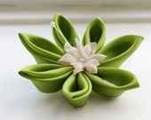 Chartreuse Green Brooch Pin: Kanzashi Flower Corsage in Green Silk