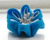 Blue Flower Brooch and Hair Clip - Blue Brooch - Blue Hair Flower - Kanzashi Flower Hair Clip - Japanese Fabric Flower Clip - Origami Brooch