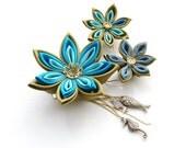 Mermaid Fascinator -  Flower Fascinator in Burnt Gold and Turquoise/Teal: Steampunk Fascinator, Kanzashi Fascinator, Turquoise Hair Flowers