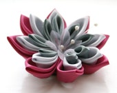 SALE - Pink and Grey Hair Flower and Brooch - Waterlily Brooch - Kanzashi Flower Brooch - Kanzashi Hair Clip - Pink Kanzashi Brooch