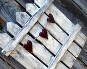 Valentines Day Trio of Hearts Rustic Picket Fence Door Hanger Home Decor