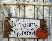 Halloween Fall Thanksgiving Autumn Rustic Personalized Burlap Welcome Sign