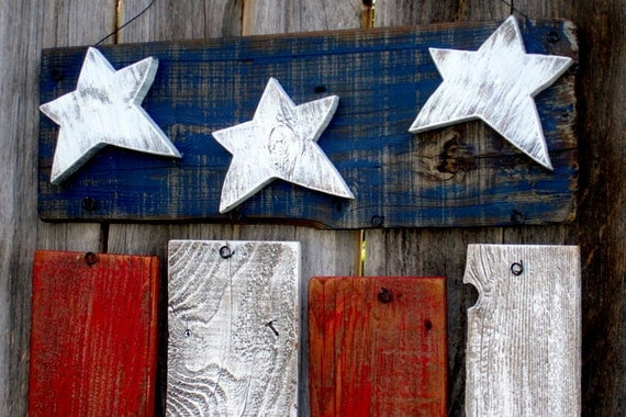 Rustic Reclaimed Wood Americana Flag Fourth Of By