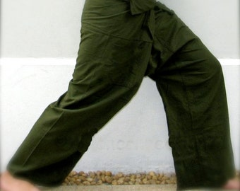 Thai Fisherman Pants- Kona Avocado Green Cotton