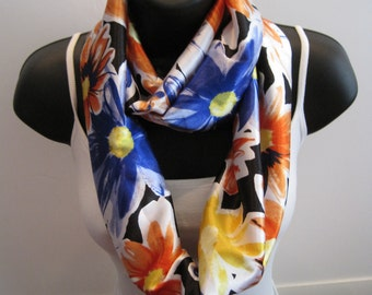 New Popular Handmade Infinity Floral Scarf, Silky and Fun