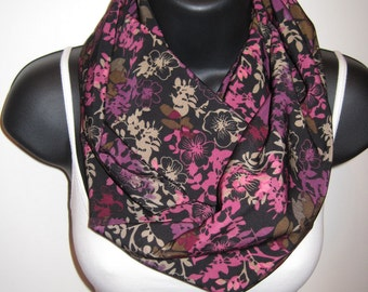New Handmade Longer Flower Design Infinity Scarf Colors include Brown, Black, Purple, Cream and Shades of Pink