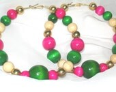"""Watermelon Smoothie"""""""" Pink & Green Wood Bead Large Hoop Earrings - Free Shipping USA :-)"""
